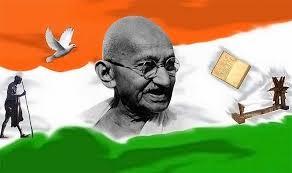 Gandhi with flag